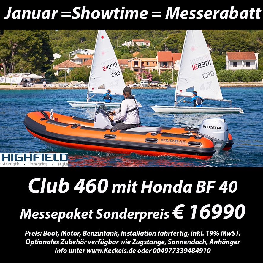 Highfield Club 460 mit Honda BF 40